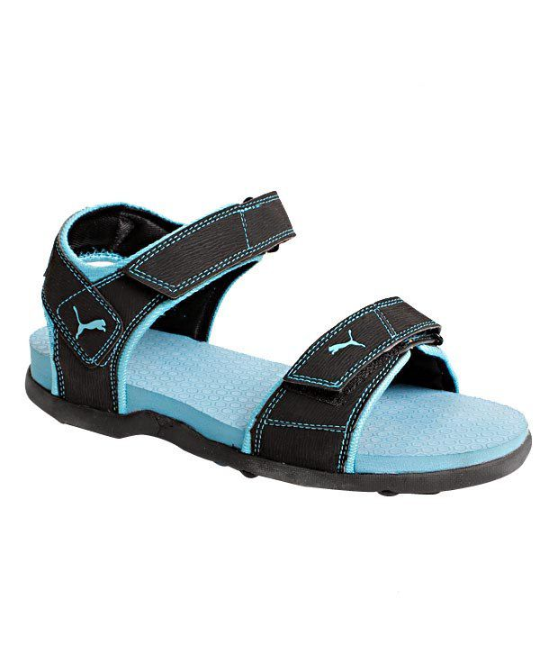 a32edcabeded Puma Sonic Wn s Ind Black   Sky Blue Floater Sandals Price in India- Buy  Puma Sonic Wn s Ind Black   Sky Blue Floater Sandals Online at Snapdeal