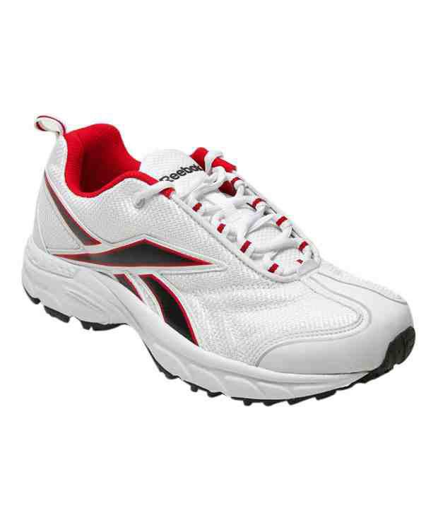 Reebok Global Runner White & Red Sports Shoes