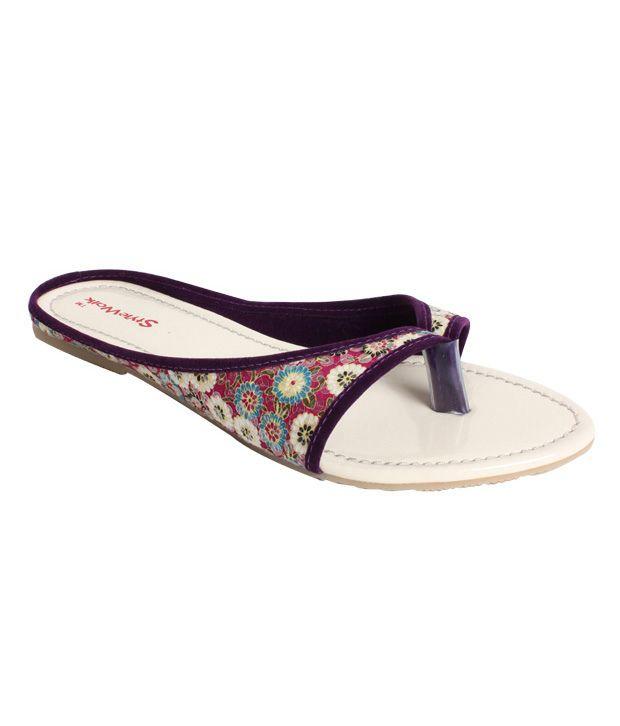 Stylewalk Plum Sturdy Sequined Slippers