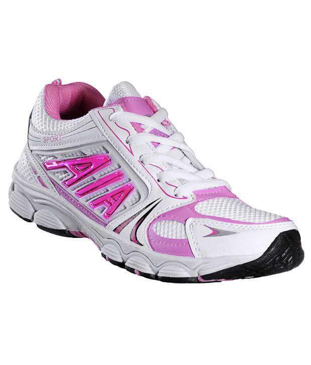 Universal Energetic White & Pink Running Shoes