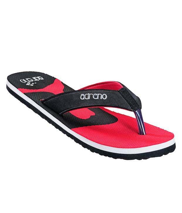 Adreno Black & Red Flip Flops