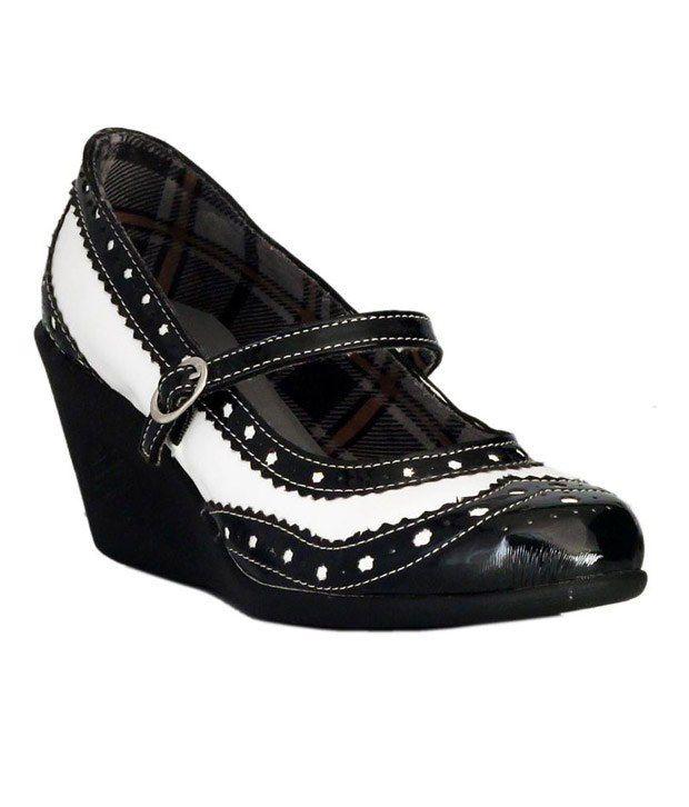 Catwalk Black & White Wedge Heel Ballerina