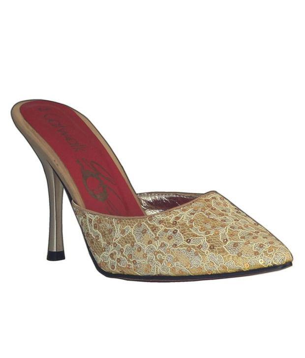 Catwalk Golden & Silver Pencil Heel Mules