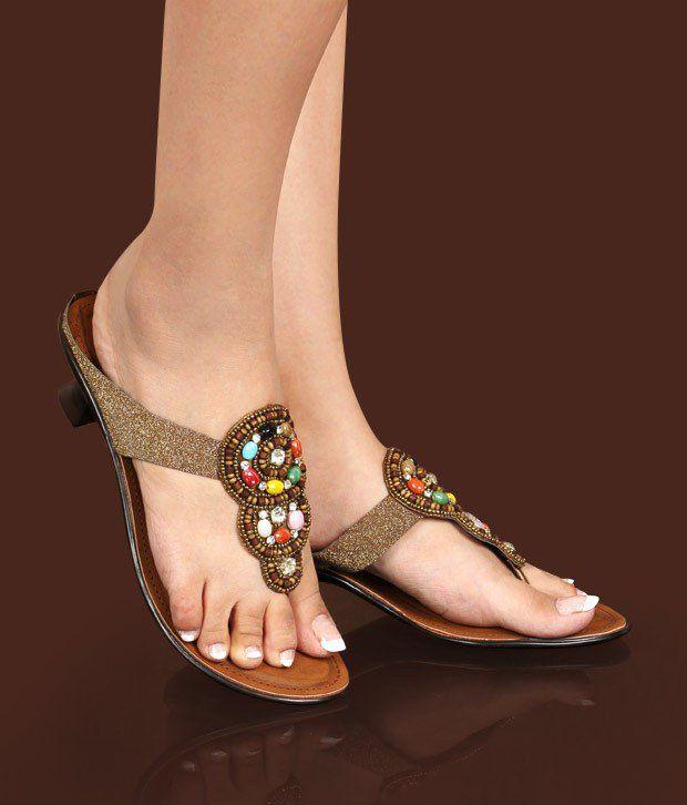 Catwalk Sparkly Bronze Slip-on Heels