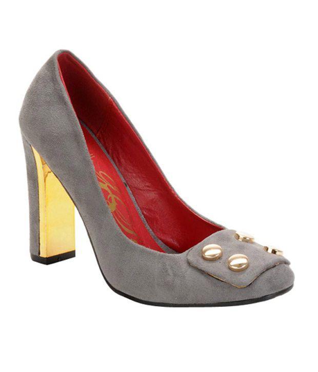 Catwalk Stunning Grey Block Heel Pumps