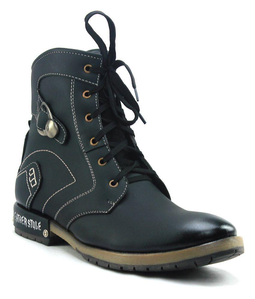 D'Ziner Dulce Black Boots For Men