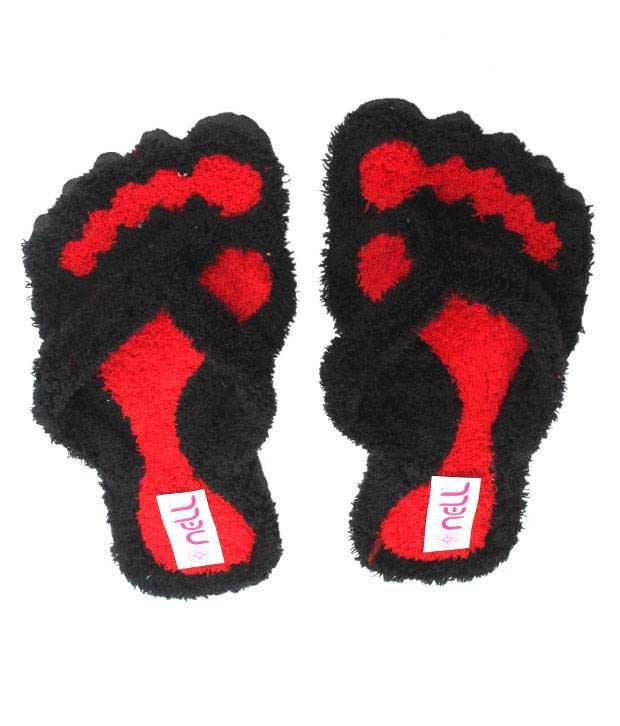 FNB-Nell Striking Black & Red Slippers