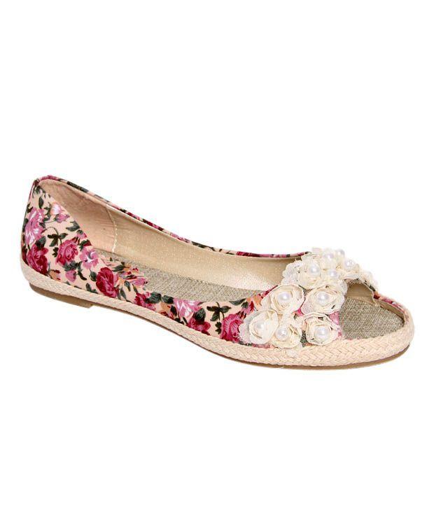 K22 Beige Floral Print Peep Toe Ballerina