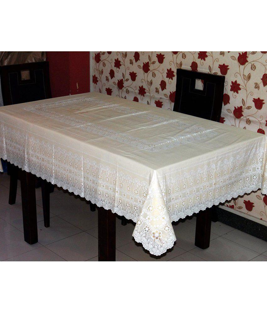 Katwa Clasic - 54 x 78 Inch Lace Vinyl Tablecloth Anokha Design (Lemon)