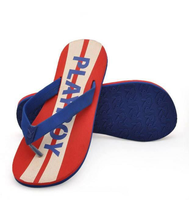 Playboy Red and Blue Slippers - PB111-RED+BLU