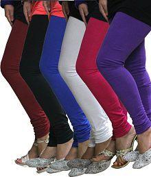 FnMe Maroon, Black, Blue, White, Pink & Purple Cotton Lycra Leggings - Pack of 6