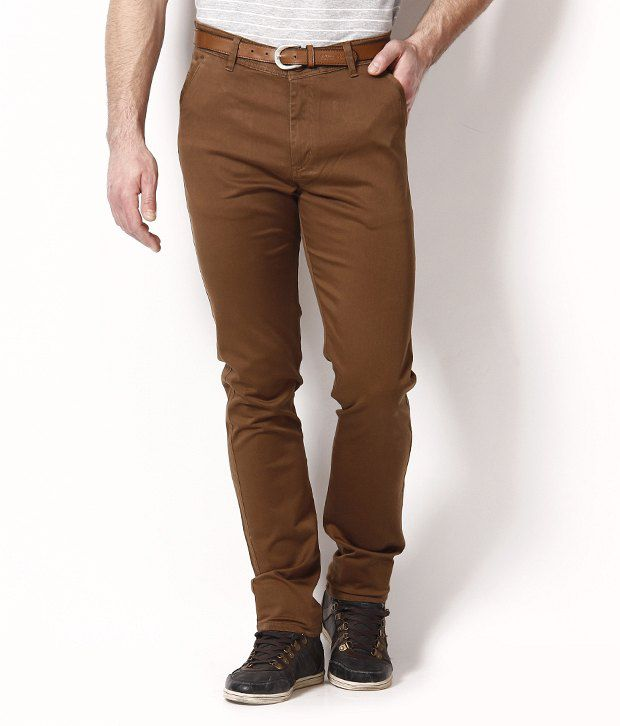 British Terminal Brown Cotton Lycra Chinos