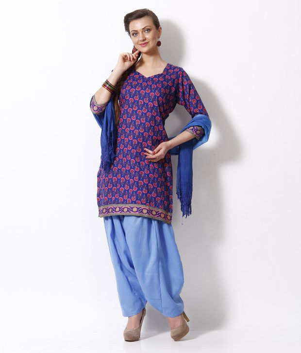 Fab Fashion Blue-Pink Printed Unstitched Suit With Dupatta