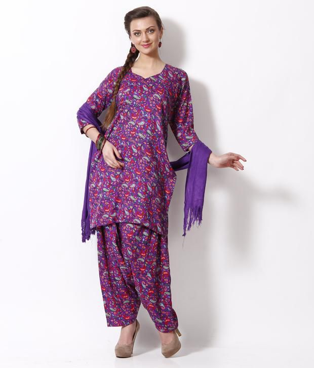 Fab Fashion Purple Printed Stitched Salwar Suit With Dupatta