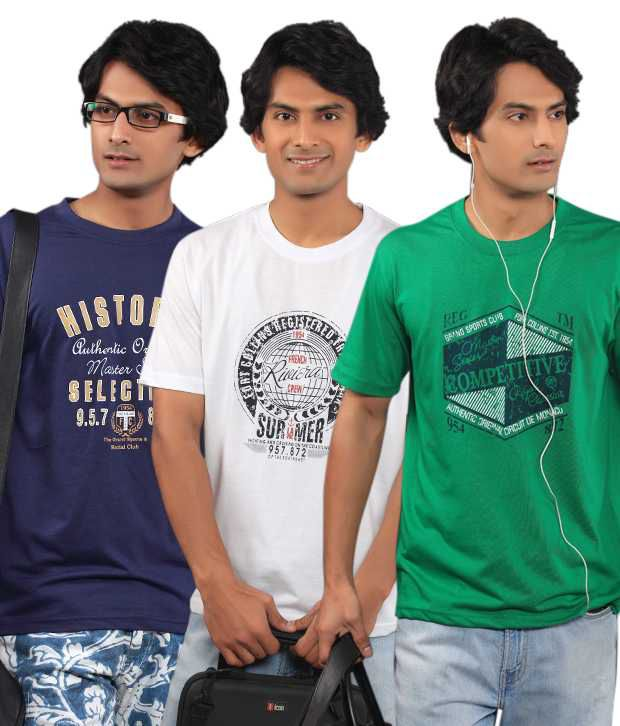Fort Collins Pack Of 3 Blue-White-Green T Shirts