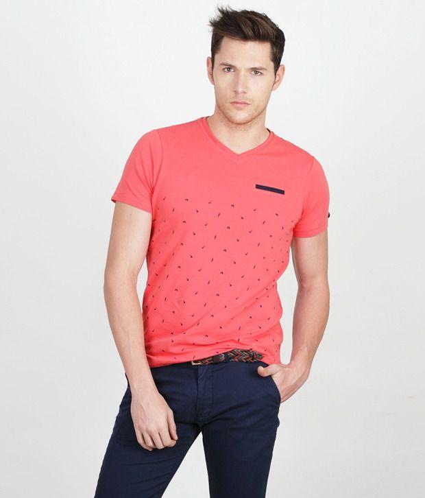 Basics 029 Casual Plain Pink Cotton Elastane T Shirt