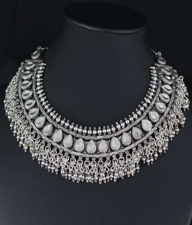 Necklace silver india images necklace silver india images 925 silver indian silver collar necklace wedding engagement jpg aloadofball Gallery