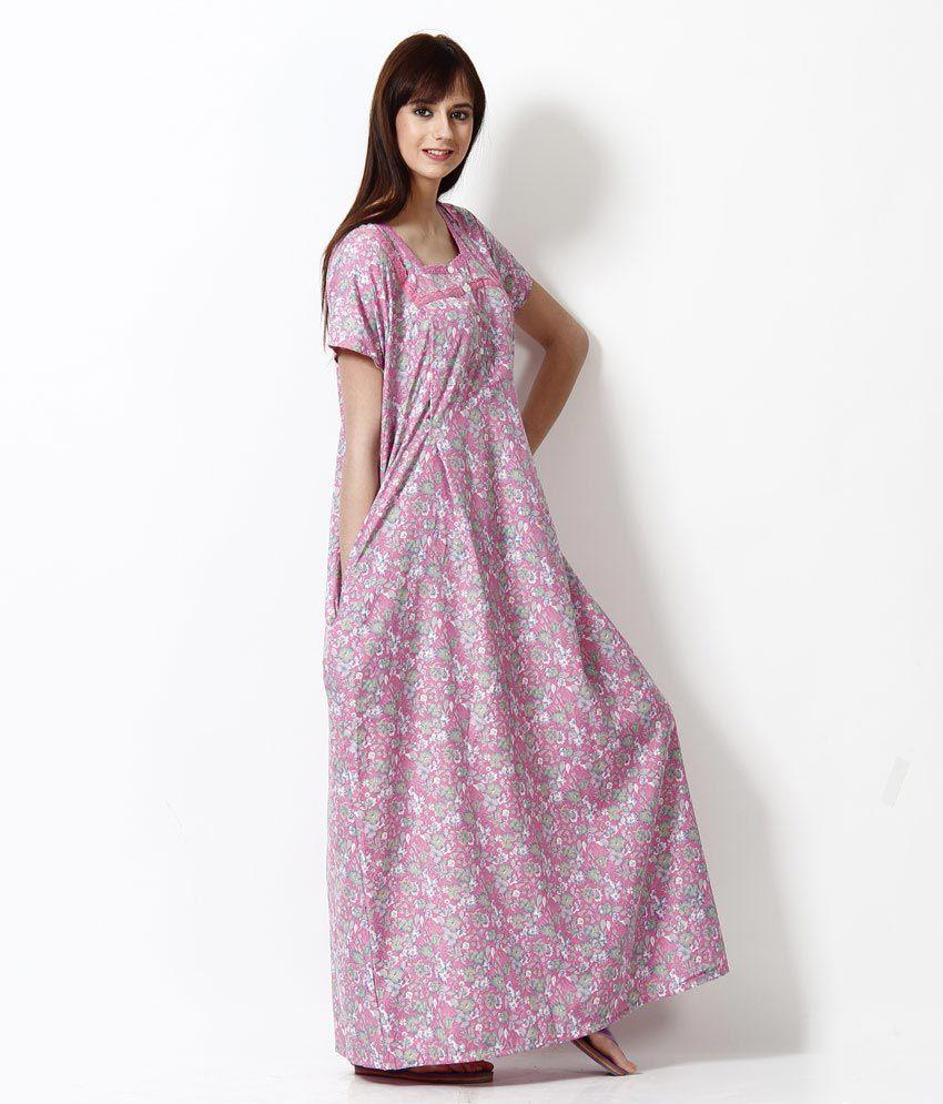 885c4cf9e8d Buy Sweet Dreams Pink 100% Cotton Feeding Nighty Online at Best ...