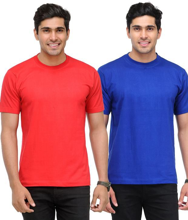 TSX Royal Blue-Red Pack of 2 Round Neck T Shirts With Free Sunglasses