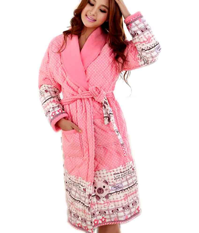 Everything Imported Cartoon Pink Quilted Bathrobe - L