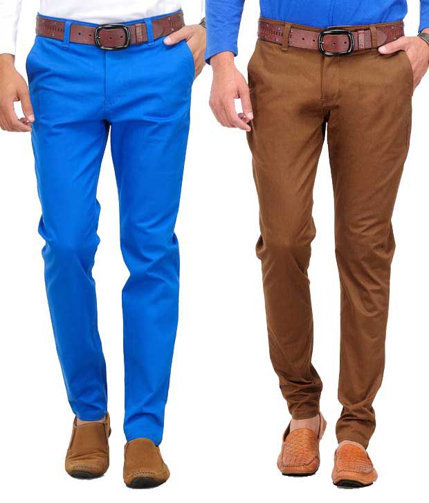 Phoenix Pack Of 2 Blue-Brown Chinos