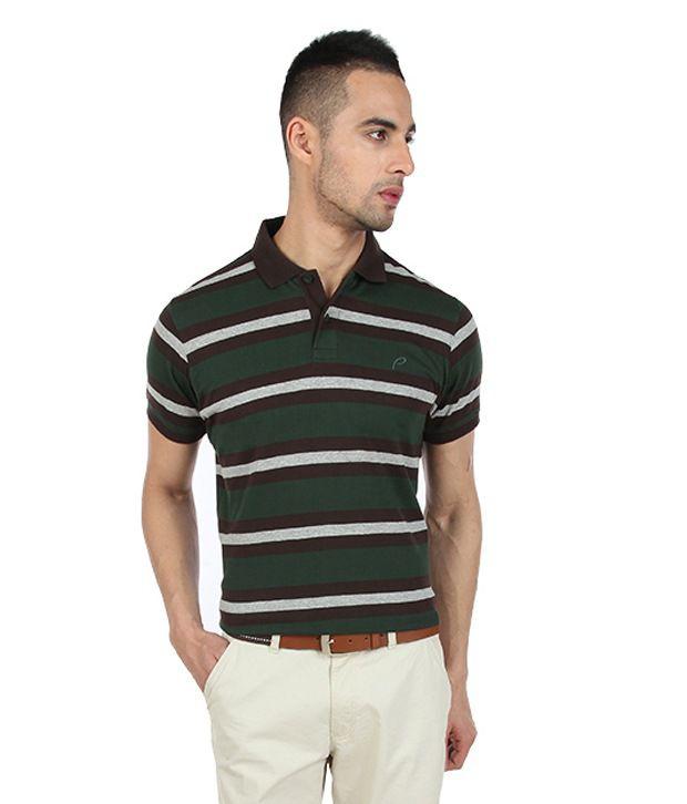 Proline Deep Green Striper Polo T Shirt
