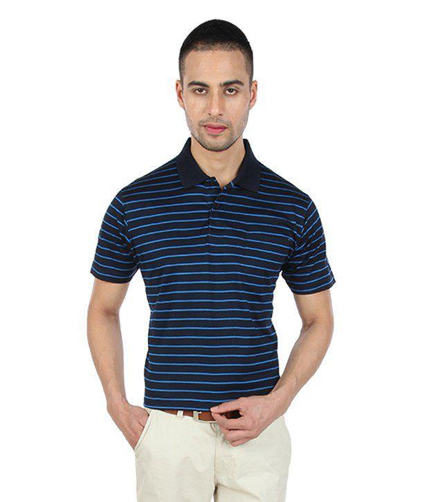 Proline Navy Striper Polo T Shirt