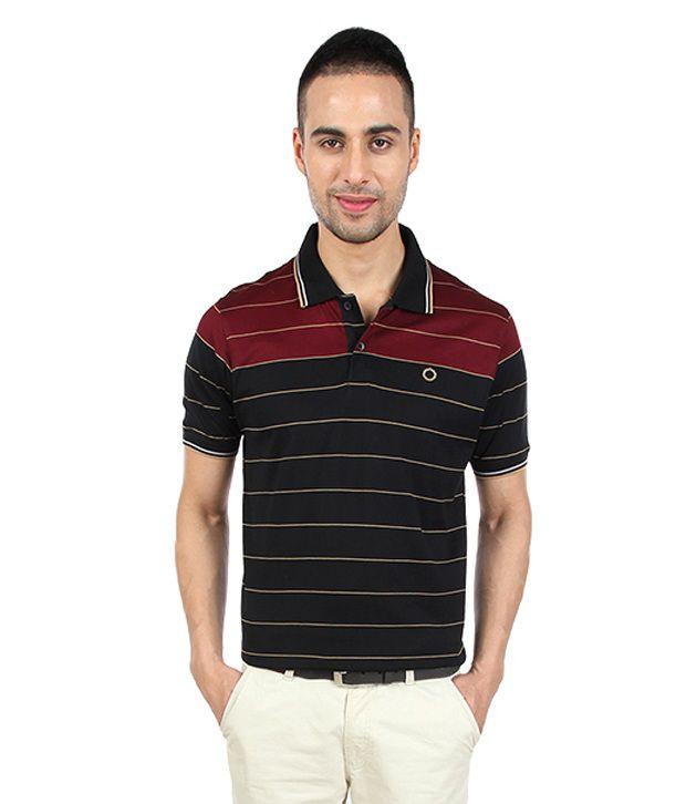 Proline Smart Black Striper Polo T Shirt