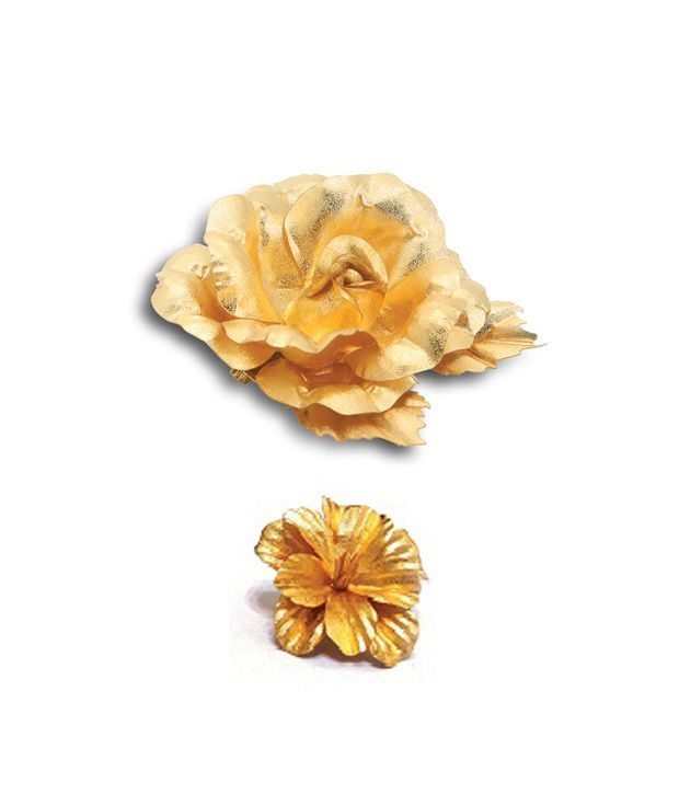 Aarya24kt Gold Foil Mini Brooch & Flower Combo