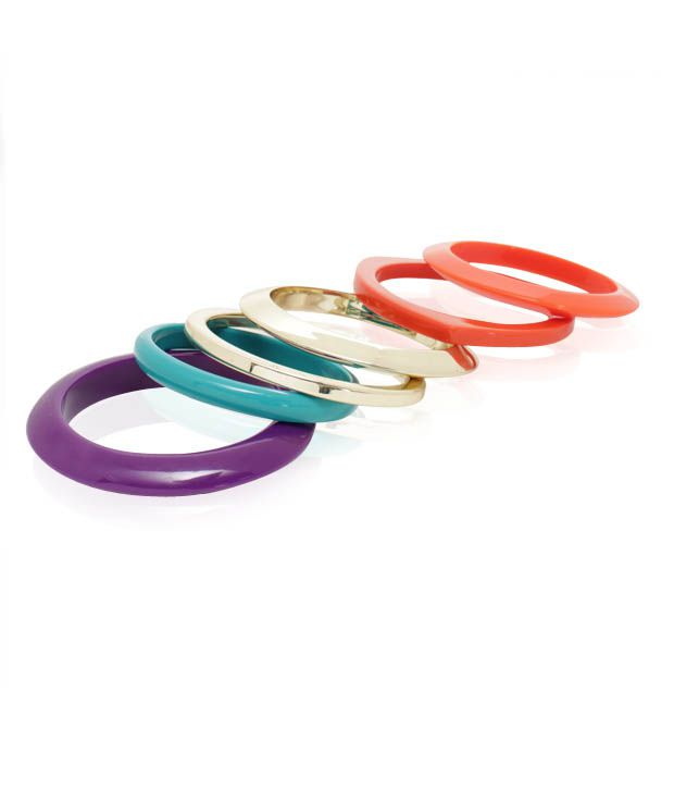 Diva Acrylic Crafted Bright Colourful Set of 6 Bangles