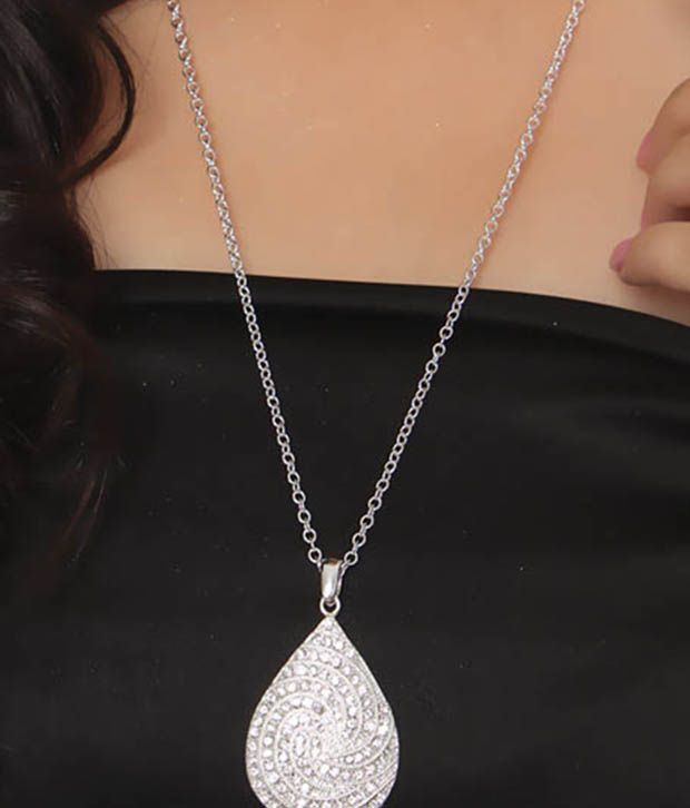 Diva White Pear Shaped Pendant Necklace