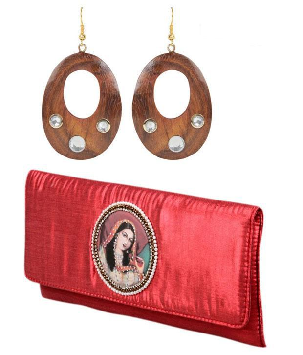 Favola Oval Wooden Earrings And Red Clutch Combo