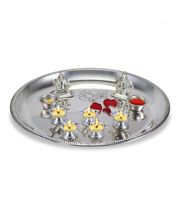 Ilina Silver Plated Puja Thali With Religious Idols