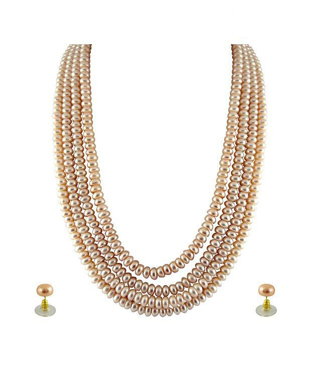 Sri Jagdamba Pearls 4 String Pink Pearl Set