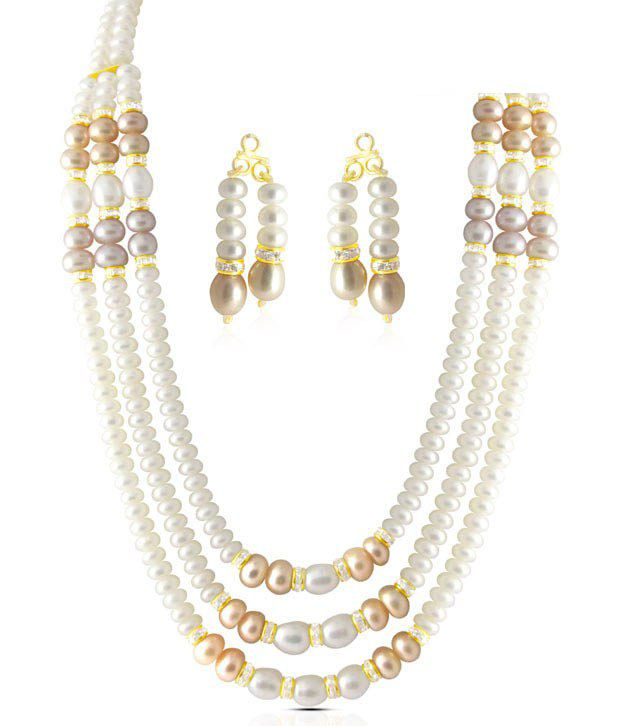 Sri Jagdamba Pearls CZ & Pearl Studded Appealing Necklace Set