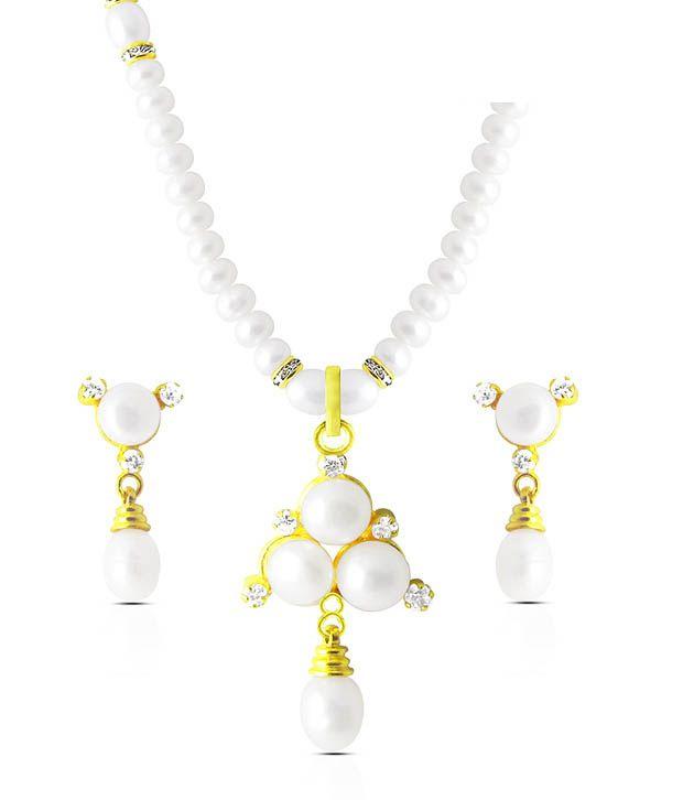 Sri Jagdamba Pearls CZ & Pearl Studded Lavish Necklace Set