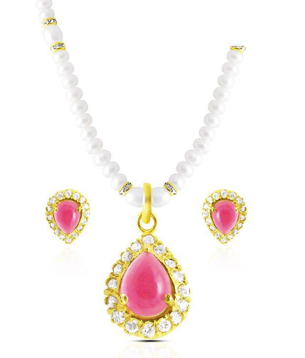 Sri Jagdamba Pearls CZ & Pearl Studded Ornate Necklace Set