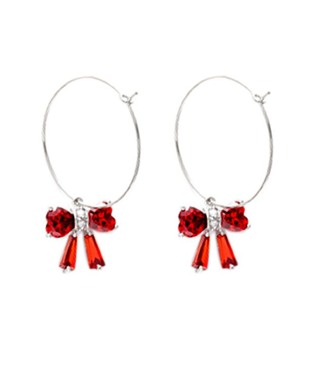 Opaleena Red Ruby Bow Earrings