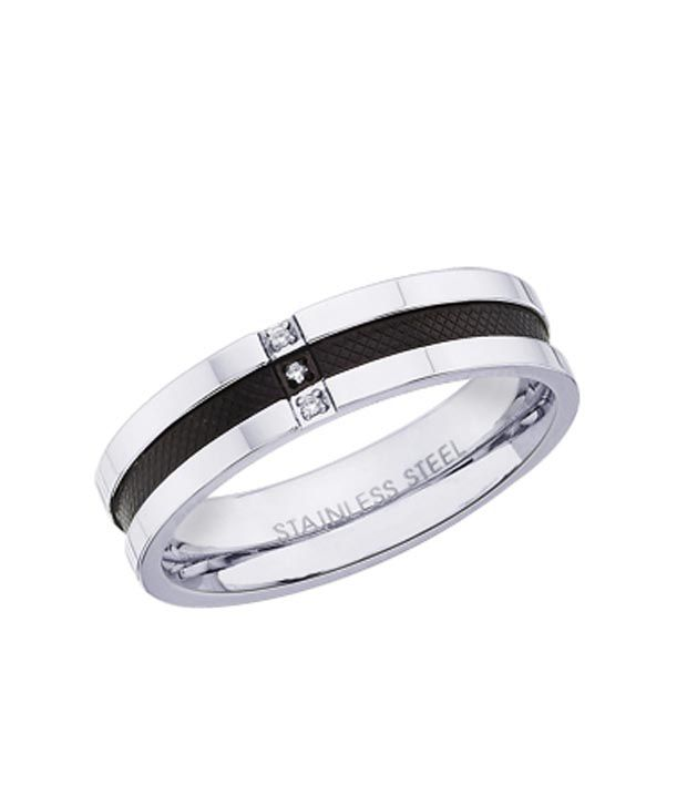 Peora Black & Silver Cubic Zircon  Stainless Steel Ring