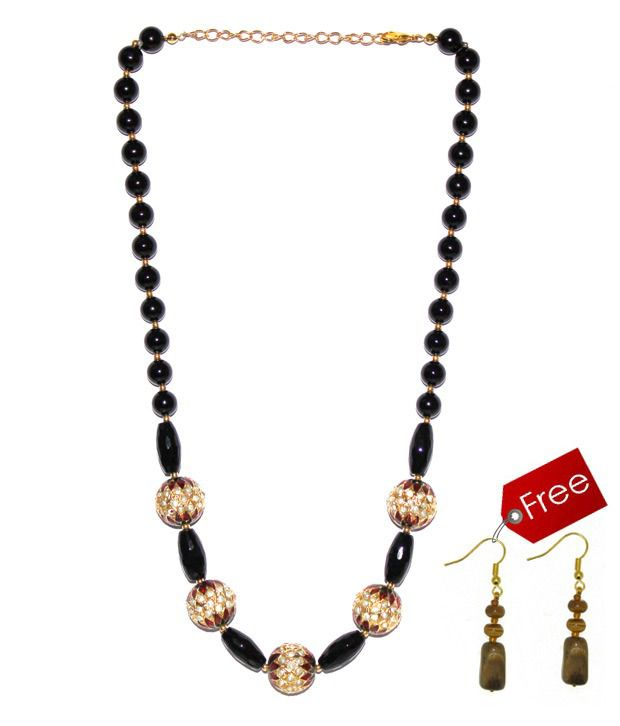 Piebee Black Onyx Necklace With Free Earrings