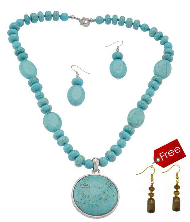 Piebee Ethnic Turquoise Necklace Set With Free Earrings
