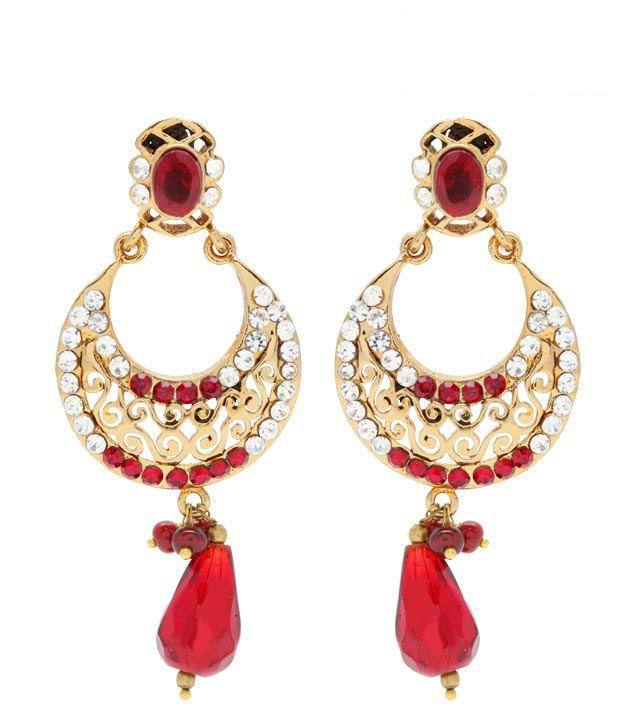 Pretty Women Red Drop Golden Crescent Earrings