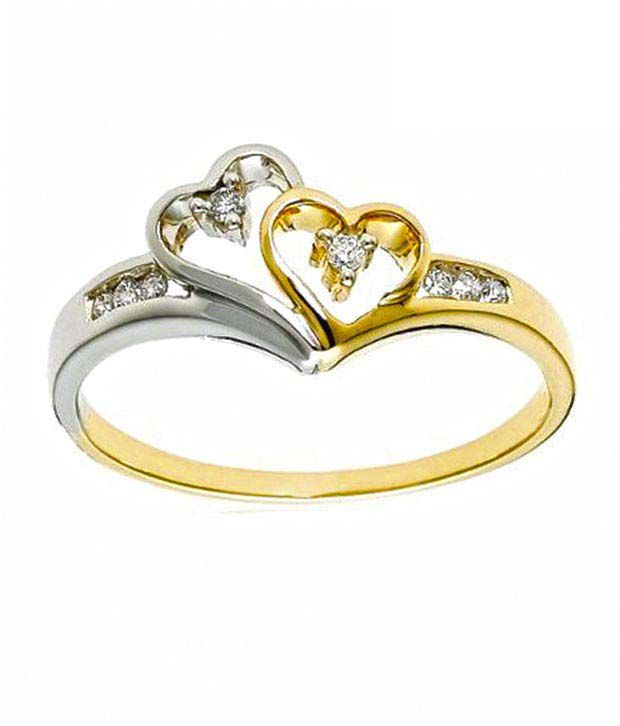 Sanskruti Real Diamond 2 Tone Finish Hearts Ring