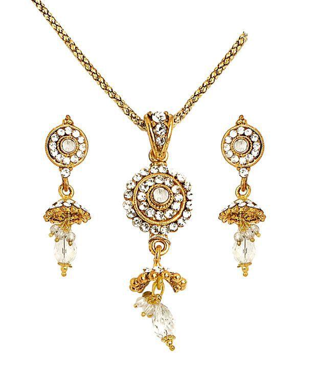 Sharnam Arts Golden Jhumka Style Necklace Set