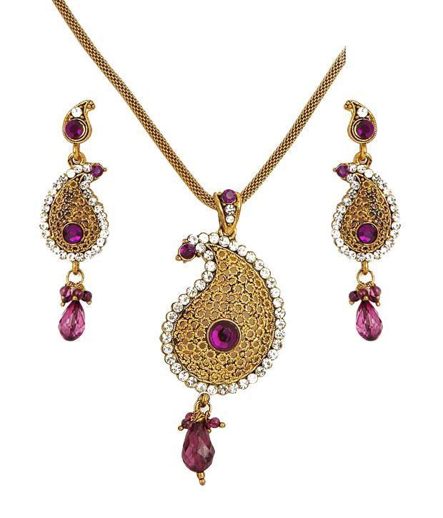 Sharnam Arts Pink Drop Golden Paisley Necklace Set