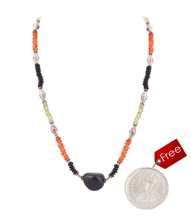 Silver Centrre Silver , Black Onyx , Peridot and Cornelian Necklace with free silver coin