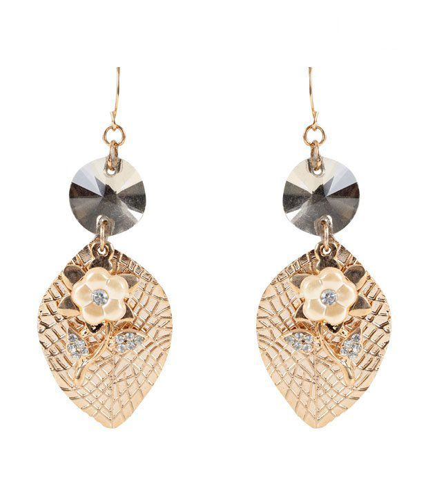 Vendee Exotic Golden Leaf Earrings