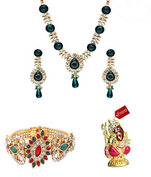 Vendee Fashions Striking Jewellery Combo With Free Idol