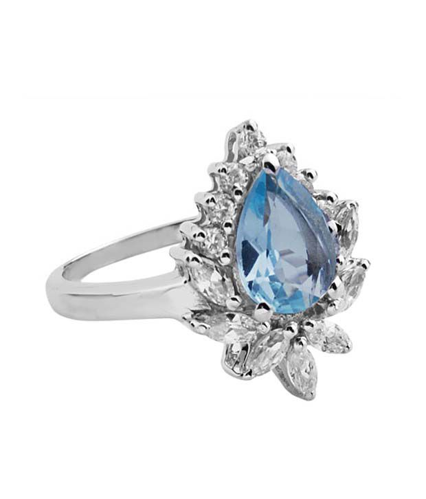 Zevrat Genuine Pear Shaped Blue Topaz and CZ Silver Ring