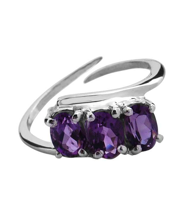 Zevrat Purple Amethyst Silver Ring